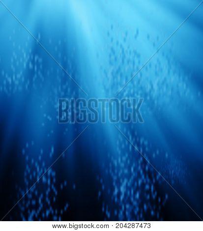 Deep blue sea and bubbles. environment concept