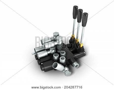 Concept Of A Hydraulic Distributor 3D Render On A White Background