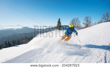 Shot Of A Professional Skier Riding The Slope In A Beautiful Winter Day Copyspace Ski Resort Recreat