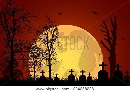 Vector illustration of a graveyard with tombstones and trees under a haunted red sky with a big moon and flying bats