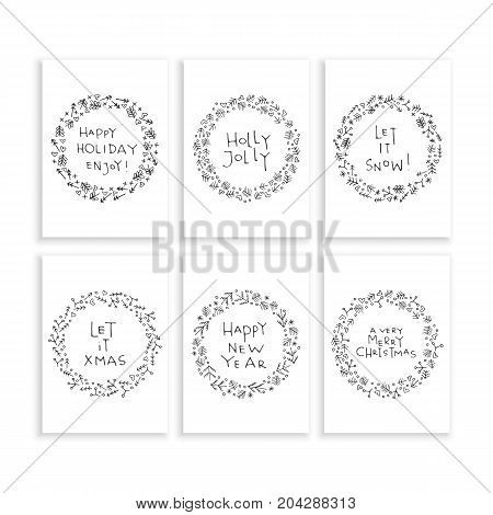 A set of Christmas cards with wreaths and Christmas greetings. Vector illustration wreath isolated on white background, hand-drawn.