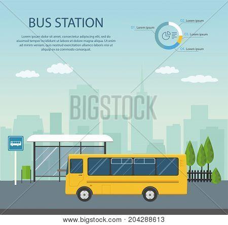 Bus stop iillustration, infographics. Flat vector image