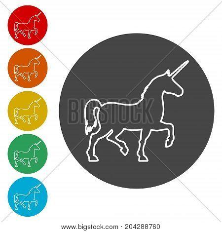 Silhouette of Unicorn Horse icon, vector icon