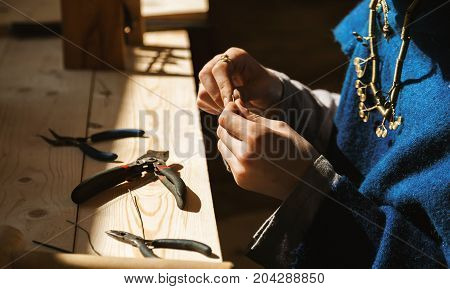 Female Craftsman Hands Working With Jewellery, Selective Focus