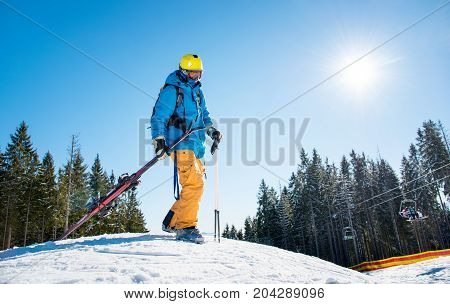 Skier Walking In The Mountains Carrying His Ski Equipment Copyspace Nature Active Lifestyle Resort L