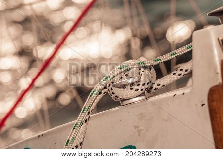 Detailed Closeup Of Rigging On Sail Boat