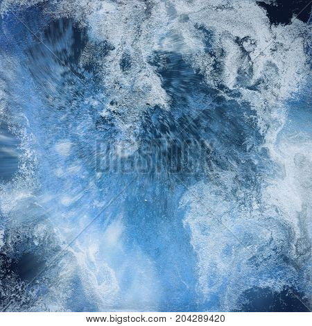 Abstract liquid blue background. Pattern with abstract frozen and black waves. Marble. Handmade surface. Liquid paint. Acrillic wallpaper. Mineral textured hand draw painting