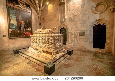 Lisbon, Portugal - August 26, 2017: Tomb of Vasco da Gama in Jeronimos Monastery Church in Belem district.Vasco da Gama was a famous Portuguese explorer who traveled in India dubbing Cape of Good Hope