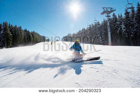 Shot Of A Skier Riding At Winter Resort In The Carpathians Mountains Copyspace Fresh Powder Snow Hap