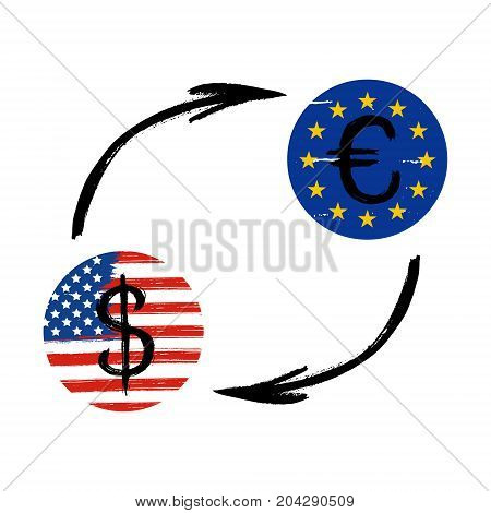 Currency Signs - Grunge - Exchange - Dollar and Euro