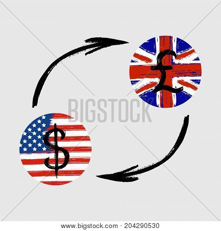 Currency Signs - Grunge - Exchange - Dollar and Pound