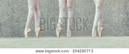 Closeup shot of legs of three female ballet dancers standing on their toes wearing pointe shoes. Ballet dancers practicing dance moves.