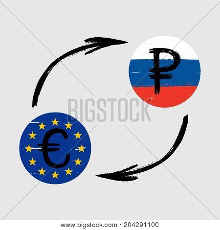 Currency Signs - Grunge - Exchange - Euro and Ruble