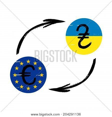 Currency Signs - Grunge - Exchange - Hryvnia and Euro