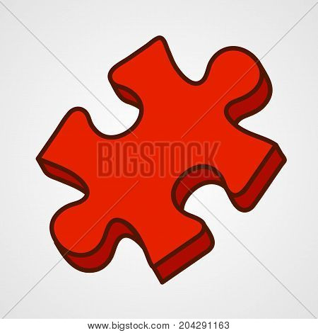 Cartoon puzzle piece icon. Red variant. Vector illustration