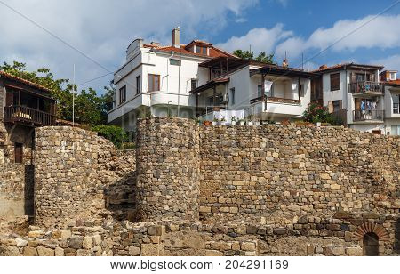 Sozopol Bulgaria - September 03 2014: Old town of Sozopol at Black Sea Bulgaria. Fortress wall and towers architectural and historic complex. UNESCO world heritage site.