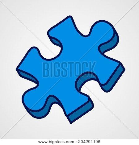 Cartoon puzzle piece icon. Blue variant. Vector illustration