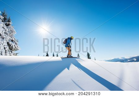 Full Length Shot Of A Skier On Top Of The Mountain Riding Downhill Copyspace Active People Living Le