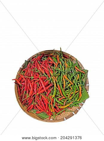 Cayenne Pepper in The Wicker Basket Isolated on White Background Clipping Path