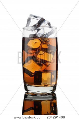 Cold or Alcoholic Drink in a Glass with Ice Cubes