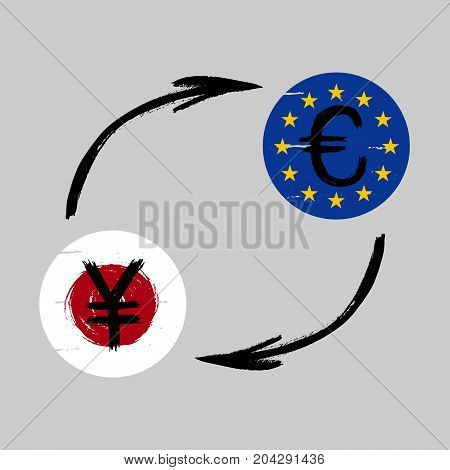 Currency Signs - Grunge - Exchange - Yen and Euro