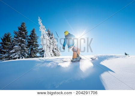 Freeride Skier Riding Down The Slope In The Mountains Copyspace Powder Snow Movement Motion Active L
