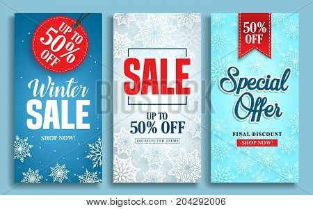 Winter sale vector poster design set with sale text and snow elements in colorful winter background for shopping promotions. Vector illustration.