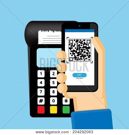 People pay with QR code on mobile  vector business  design