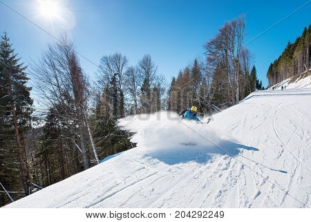Professional Skier Shoting By Action Camera On Selfie Stick While Skiing On Fresh Powder Snow In The