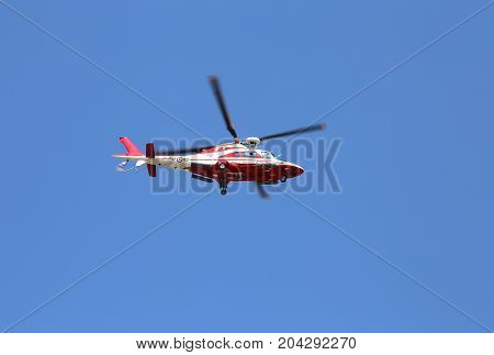 Veneto, Italy - May 26, 2016: Helicopter Of Italian Firefighters During A Rescue Exercise Session