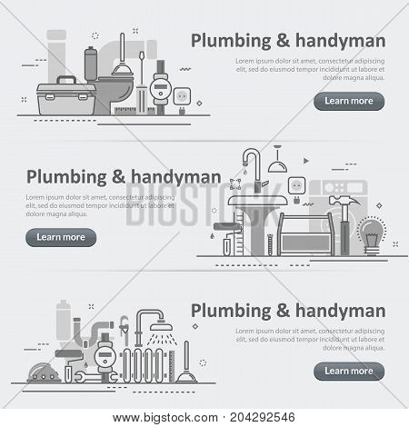 Flat line vector design concept banner templates set of plumbing and handyman service house problems for web design header website