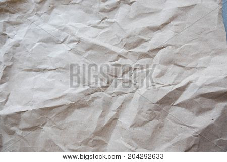 Gray Crumple Paper Sheet. Closeup Wrinkled Paper Texture Background