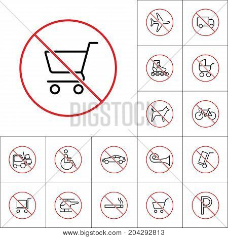 Thin Line Dont Use Shopping Cart Sign, Transport Prohibition Sig