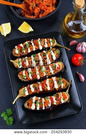 Delicious Quinoa Mushrooms Tomato Stuffed Eggplant