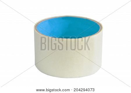 cream adhesive tape roll on white background