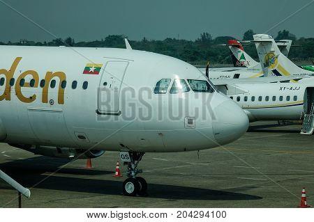 Aircraft At Yangon Airport In Myanmar