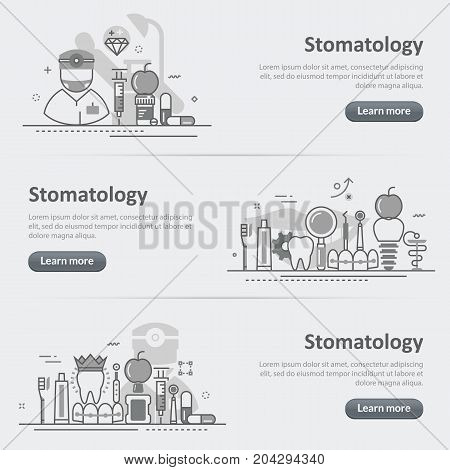 Flat line vector design concept banner templates set of stomatology and dentist dental for web design header website