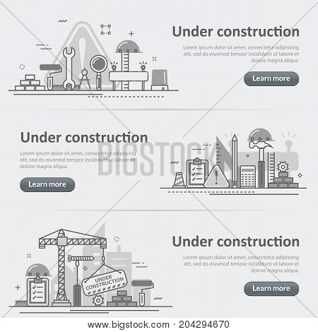 Flat line vector design concept banner templates set of under construction web page building process for web design header website