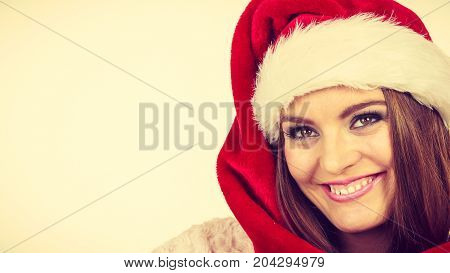 Woman In Santa Claus Hat Free And Happy Laughing