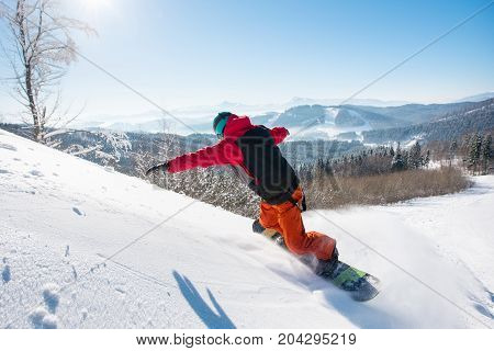 Rearview Shot Of A Male Snowboarder Riding The Slope Copyspace Recreation Adrenaline Extreme Lifesty
