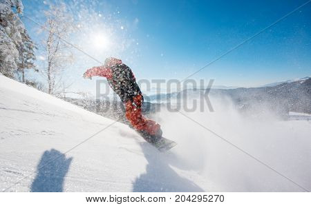 Freerider Snowboarder Riding The Slope On A Sunny Winter Day In The Mountains Copyspace Snowboarding