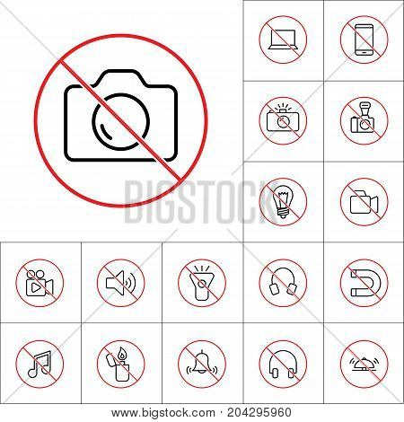 Thin Line No Photo Prohibition Sign, Gadget Prohibitions Set