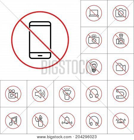 Thin Line No Smartphone Prohibition Sign, Gadget Prohibitions Se