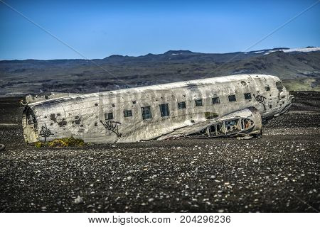 VIK ICELAND - August 30 2017: Aircraft wreckage in Iceland (Douglas R4D Dakota DC-3 C 117 from the US navy)