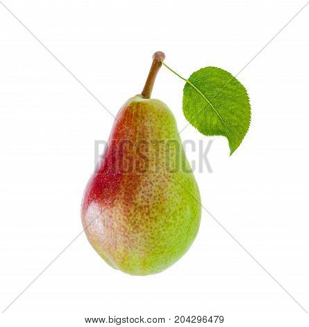 sweet green and red pear with leaf. Isolated on white.