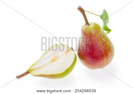 juicy red green pear with leaf isolated on white and half cut delicious fruit