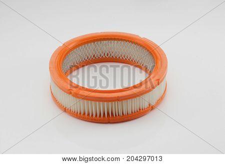 flat automotive filter round shape on a white background