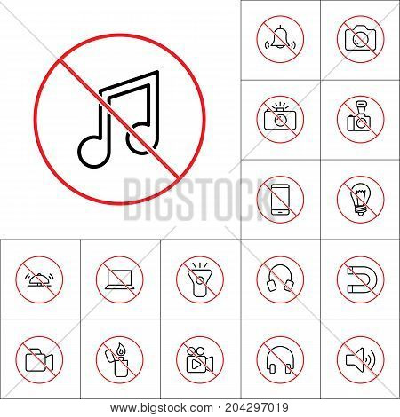 Thin Line No Music Sign, Gadget Prohibitions Set