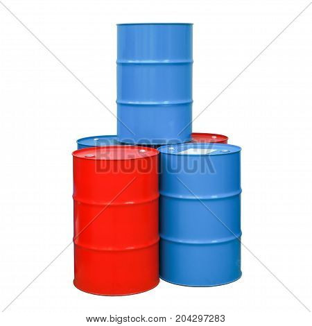 Red blue barrel oil isolated white background