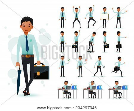 Male Black African Clerk 2D Character Ready to Use Set Wearing Long Sleeve and Tie Standing and Sitting Position with  Facial Expressions and Posture in White Background. Vector Illustration. poster